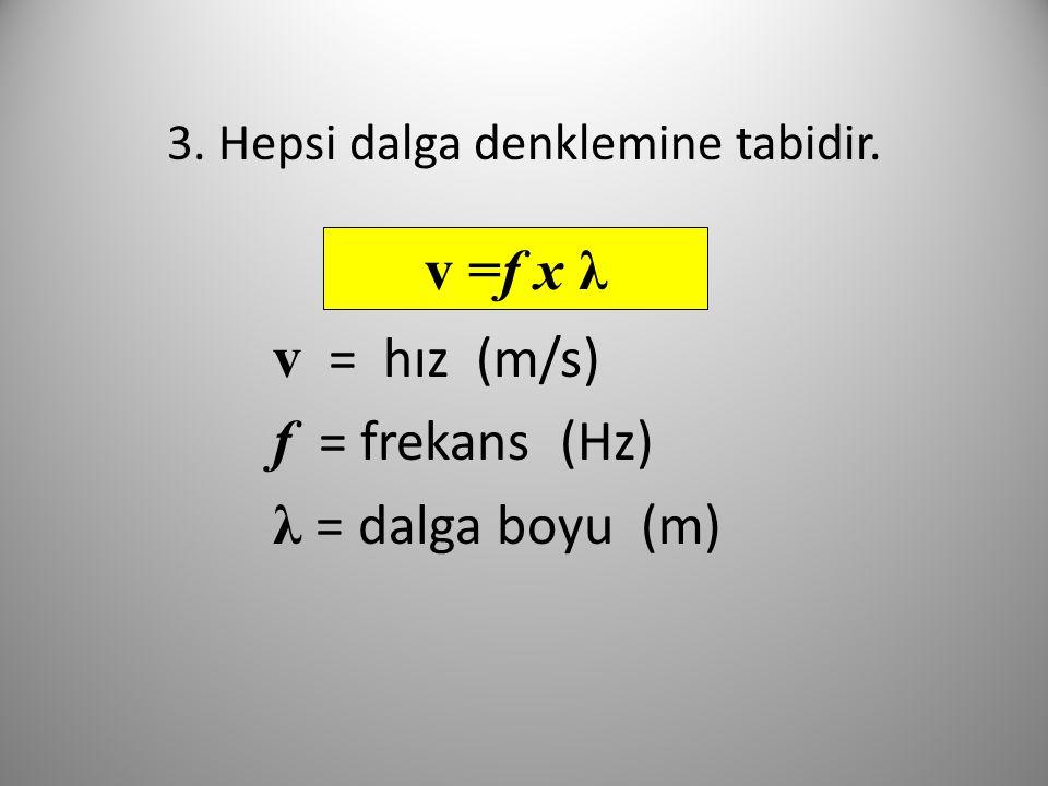 3. Hepsi dalga denklemine tabidir. v = hız (m/s) f = frekans (Hz) λ = dalga boyu (m) v =f x λ