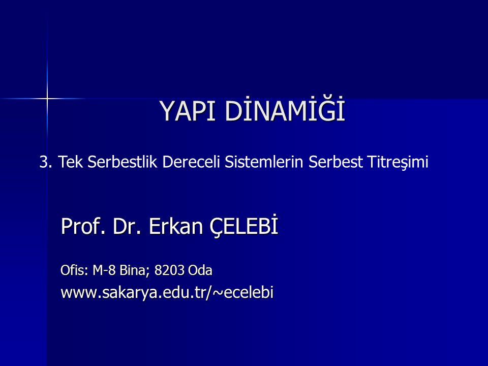 YAPI DİNAMİĞİ Prof. Dr. Erkan ÇELEBİ Ofis: M-8 Bina; 8203 Oda www.sakarya.edu.tr/~ecelebi 3. Tek Serbestlik Dereceli Sistemlerin Serbest Titreşimi
