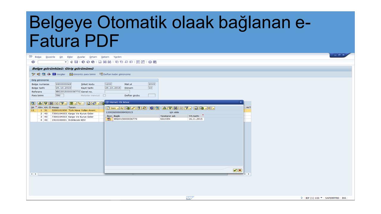 Belgeye Otomatik olaak bağlanan e- Fatura PDF