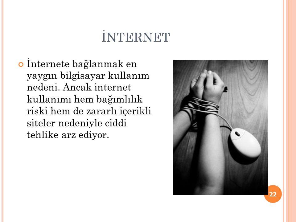 İNTERNET İnternete bağlanmak en yaygın bilgisayar kullanım nedeni.