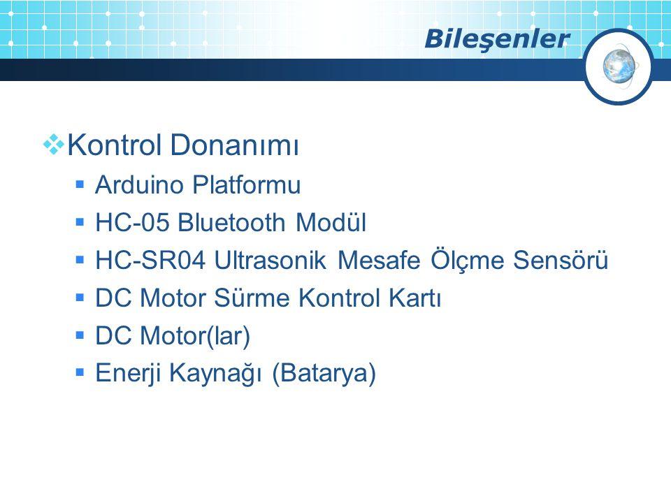 Bileşenler  Kontrol Donanımı  Arduino Platformu  HC-05 Bluetooth Modül  HC-SR04 Ultrasonik Mesafe Ölçme Sensörü  DC Motor Sürme Kontrol Kartı  D