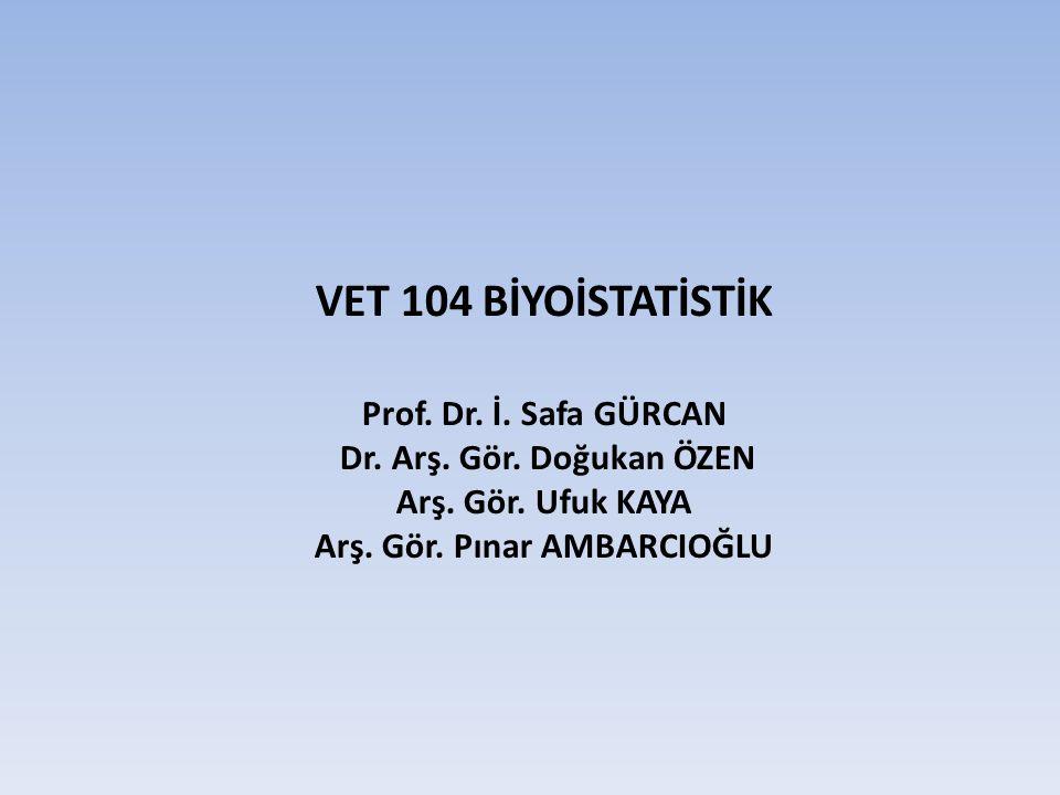 VET 104 BİYOİSTATİSTİK Prof. Dr. İ. Safa GÜRCAN Dr. Arş. Gör. Doğukan ÖZEN Arş. Gör. Ufuk KAYA Arş. Gör. Pınar AMBARCIOĞLU