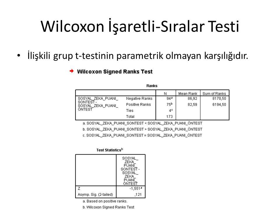 Wilcoxon İşaretli-Sıralar Testi İlişkili grup t-testinin parametrik olmayan karşılığıdır.