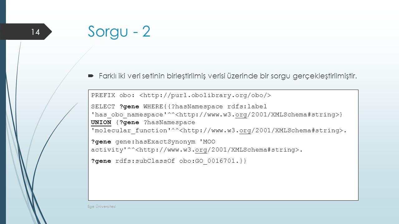 Sorgu - 2  Farklı iki veri setinin birleştirilmiş verisi üzerinde bir sorgu gerçekleştirilmiştir.