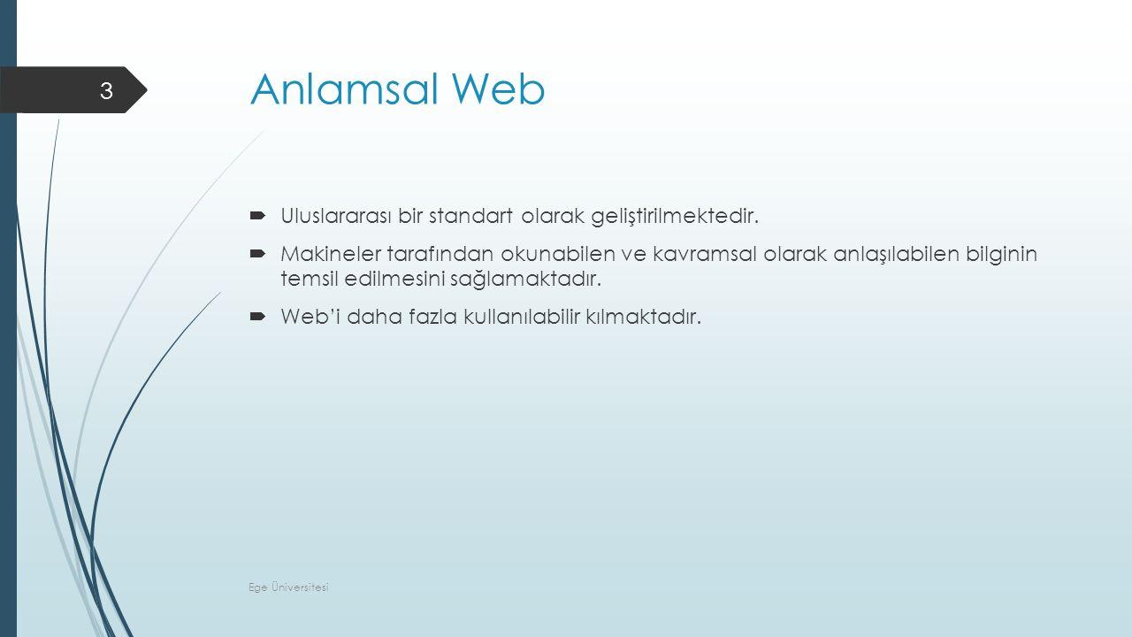 Anlamsal Web  Uluslararası bir standart olarak geliştirilmektedir.  Makineler tarafından okunabilen ve kavramsal olarak anlaşılabilen bilginin temsi