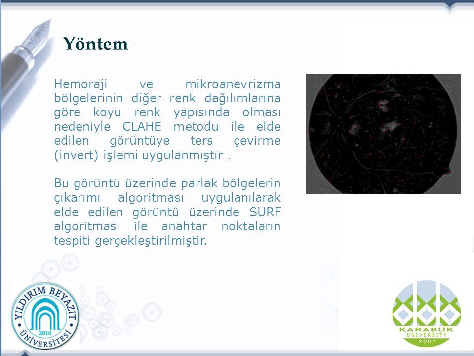 Yöntem Hemoraji ve mikroanevrizma bölgelerinin diğer renk dağılımlarına göre koyu renk yapısında olması nedeniyle CLAHE metodu ile elde edilen görüntüye ters çevirme (invert) işlemi uygulanmıştır.