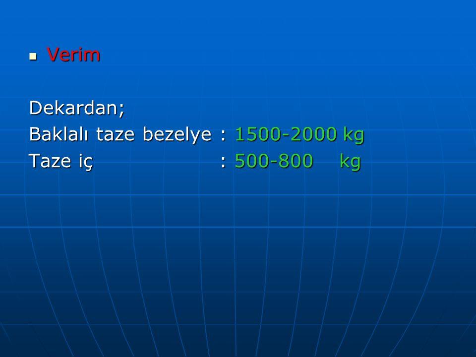 Verim VerimDekardan; Baklalı taze bezelye : 1500-2000 kg Taze iç : 500-800 kg