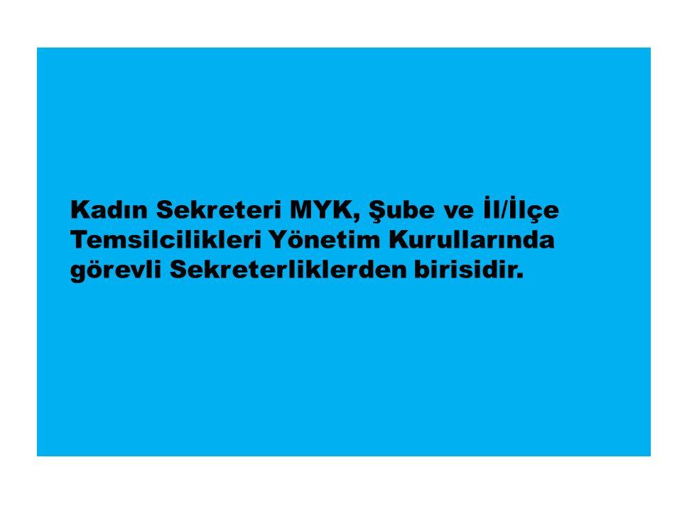 Kadın Sekreteri MYK, Şube ve İl/İlçe Temsilcilikleri Yönetim Kurullarında görevli Sekreterliklerden birisidir.