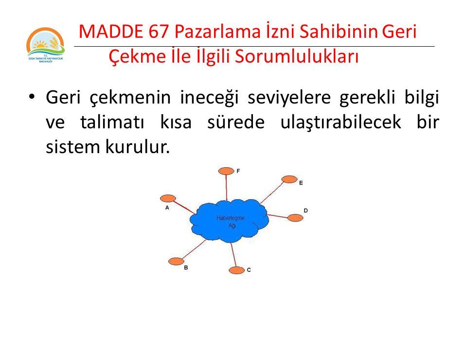 MADDE 67 Pazarlama İzni Sahibinin Geri Çekme İle İlgili Sorumlulukları Geri çekmenin ineceği seviyelere gerekli bilgi ve talimatı kısa sürede ulaştırabilecek bir sistem kurulur.