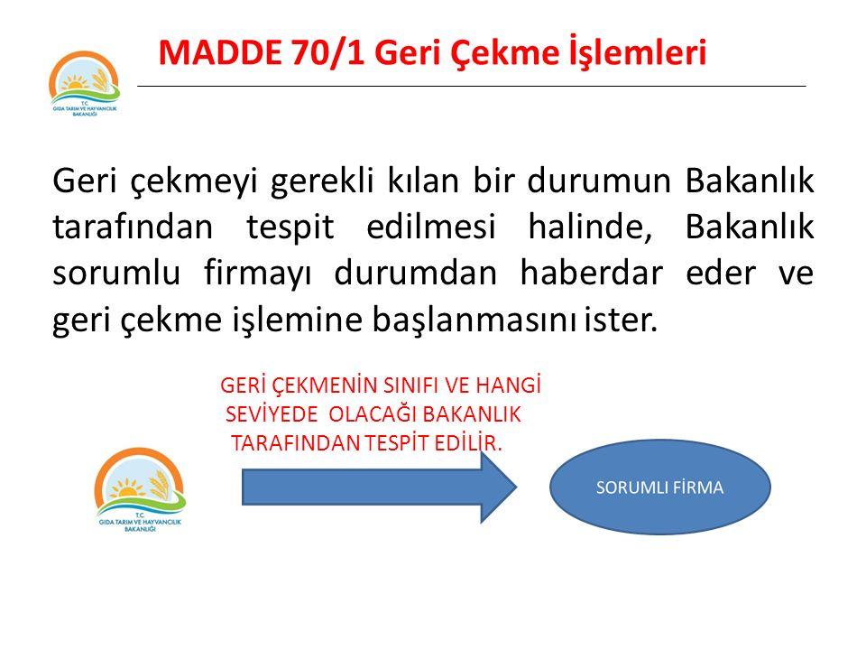MADDE 70/1 Geri Çekme İşlemleri Geri çekmeyi gerekli kılan bir durumun Bakanlık tarafından tespit edilmesi halinde, Bakanlık sorumlu firmayı durumdan haberdar eder ve geri çekme işlemine başlanmasını ister.