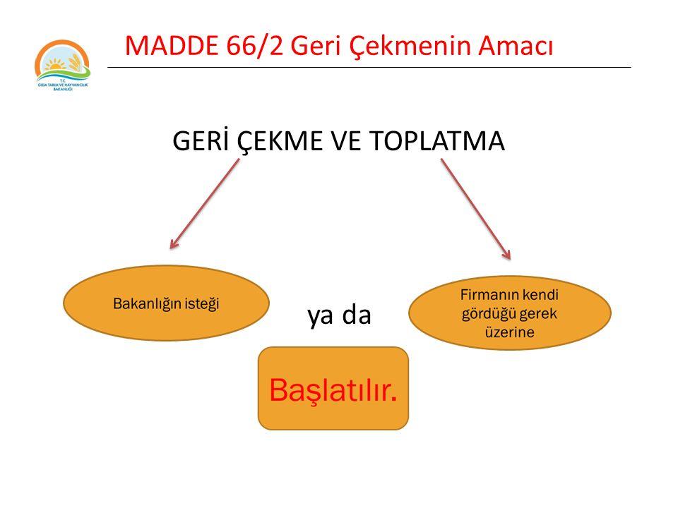 MADDE 66/2 Geri Çekmenin Amacı Geri çekme işlemi Bakanlığın denetimi altında sorumlu firma tarafından yapılır.
