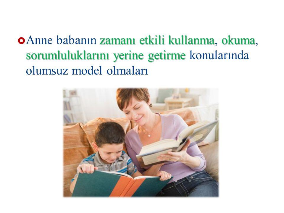 zamanı etkili kullanmaokuma sorumluluklarını yerine getirme  Anne babanın zamanı etkili kullanma, okuma, sorumluluklarını yerine getirme konularında olumsuz model olmaları