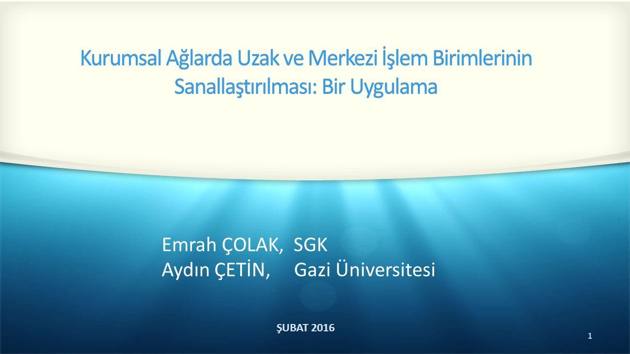 1 Kurumsal Ağlarda Uzak ve Merkezi İşlem Birimlerinin Sanallaştırılması: Bir Uygulama ŞUBAT 2016 Emrah ÇOLAK, SGK Aydın ÇETİN, Gazi Üniversitesi