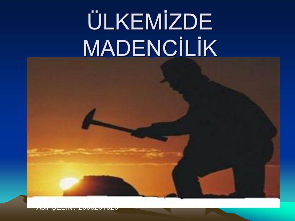 ÜLKEMİZDE MADENCİLİK Aslı ÇELİK / 2008201020