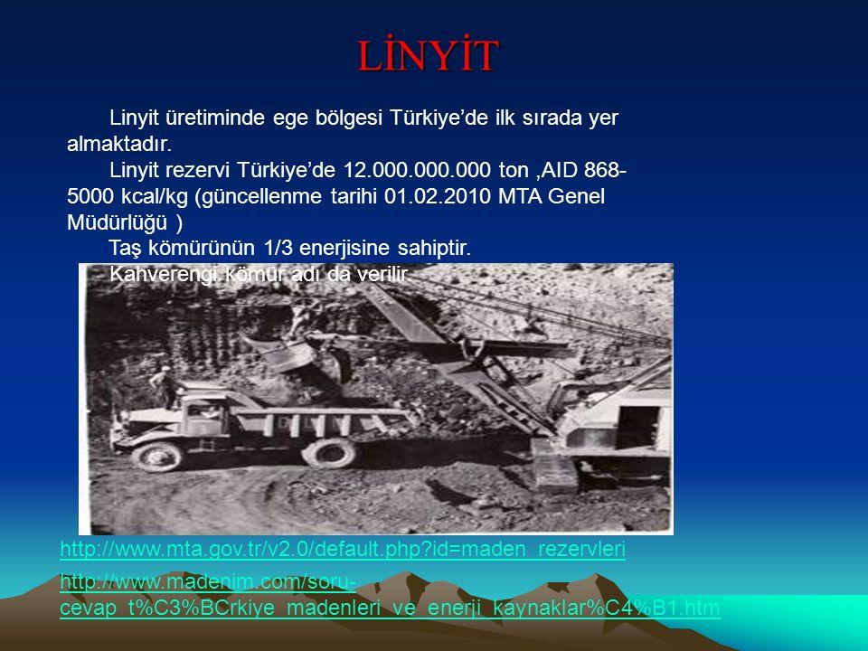 LİNYİT Linyit üretiminde ege bölgesi Türkiye'de ilk sırada yer almaktadır. Linyit rezervi Türkiye'de 12.000.000.000 ton,AID 868- 5000 kcal/kg (güncell