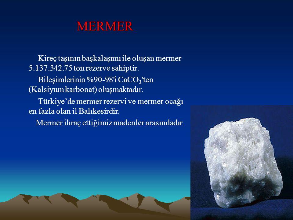MERMER Kireç taşının başkalaşımı ile oluşan mermer 5.137.342.75 ton rezerve sahiptir. Bileşimlerinin %90-98'i CaCO 3 'ten (Kalsiyum karbonat) oluşmakt