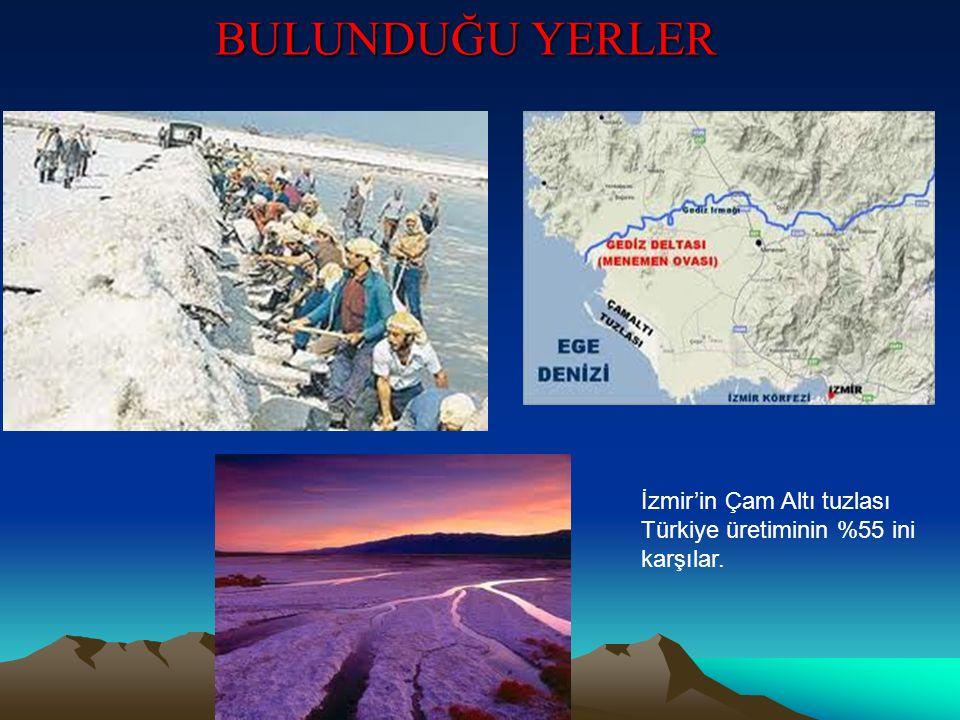 BULUNDUĞU YERLER İzmir'in Çam Altı tuzlası Türkiye üretiminin %55 ini karşılar.