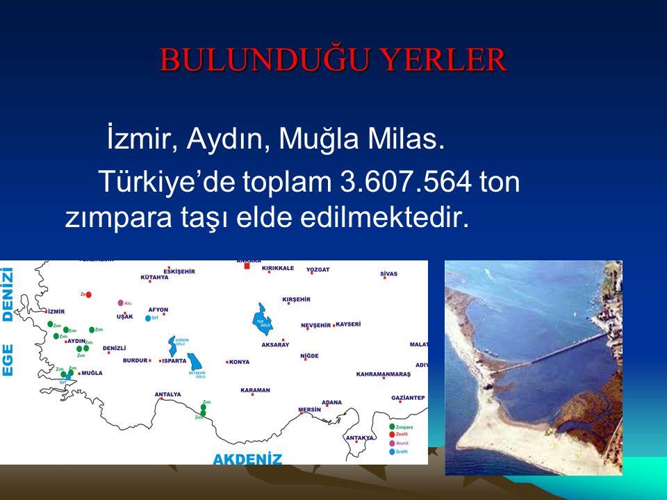 BULUNDUĞU YERLER İzmir, Aydın, Muğla Milas. Türkiye'de toplam 3.607.564 ton zımpara taşı elde edilmektedir.