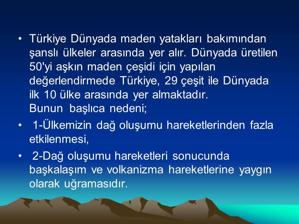 Türkiye Dünyada maden yatakları bakımından şanslı ülkeler arasında yer alır. Dünyada üretilen 50'yi aşkın maden çeşidi için yapılan değerlendirmede Tü