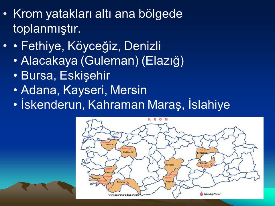Krom yatakları altı ana bölgede toplanmıştır. Fethiye, Köyceğiz, Denizli Alacakaya (Guleman) (Elazığ) Bursa, Eskişehir Adana, Kayseri, Mersin İskender