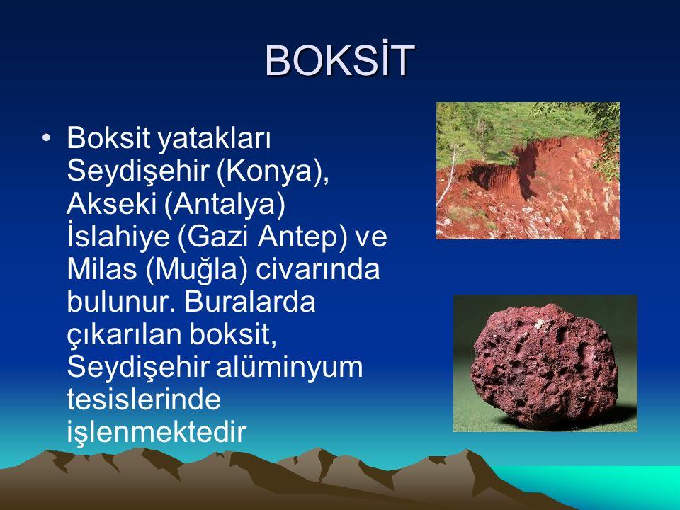 BOKSİT Boksit yatakları Seydişehir (Konya), Akseki (Antalya) İslahiye (Gazi Antep) ve Milas (Muğla) civarında bulunur. Buralarda çıkarılan boksit, Sey