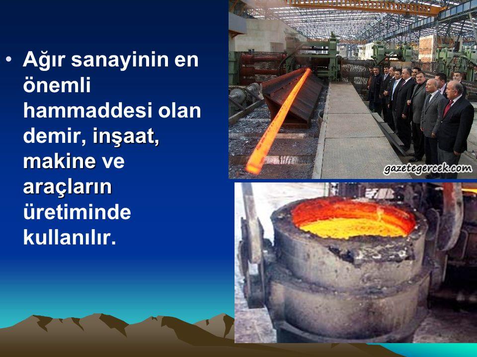 inşaat, makine araçlarınAğır sanayinin en önemli hammaddesi olan demir, inşaat, makine ve araçların üretiminde kullanılır.