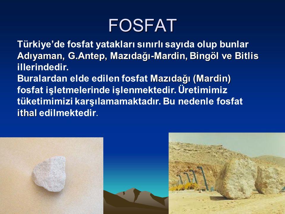 FOSFAT Adıyaman, G.Antep,Mazıdağı-Mardin,Bingöl ve Bitlis Türkiye'de fosfat yatakları sınırlı sayıda olup bunlar Adıyaman, G.Antep, Mazıdağı-Mardin, B
