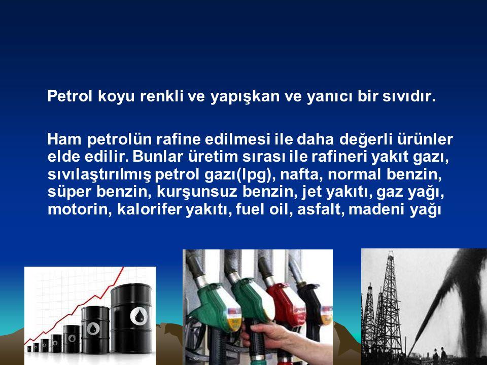 Petrol koyu renkli ve yapışkan ve yanıcı bir sıvıdır. Ham petrolün rafine edilmesi ile daha değerli ürünler elde edilir. Bunlar üretim sırası ile rafi