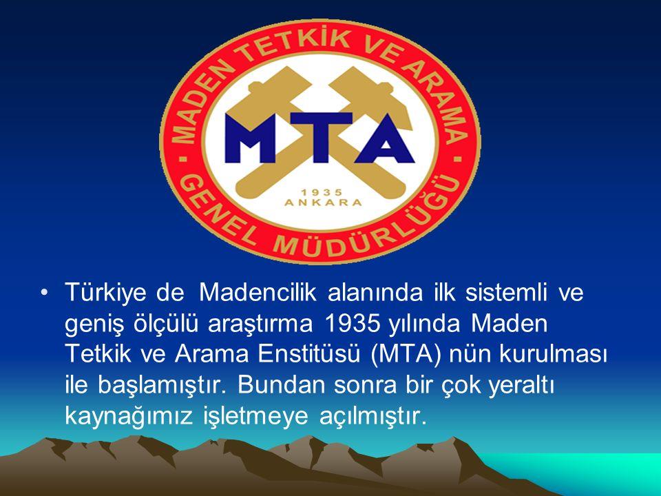 Türkiye de Madencilik alanında ilk sistemli ve geniş ölçülü araştırma 1935 yılında Maden Tetkik ve Arama Enstitüsü (MTA) nün kurulması ile başlamıştır