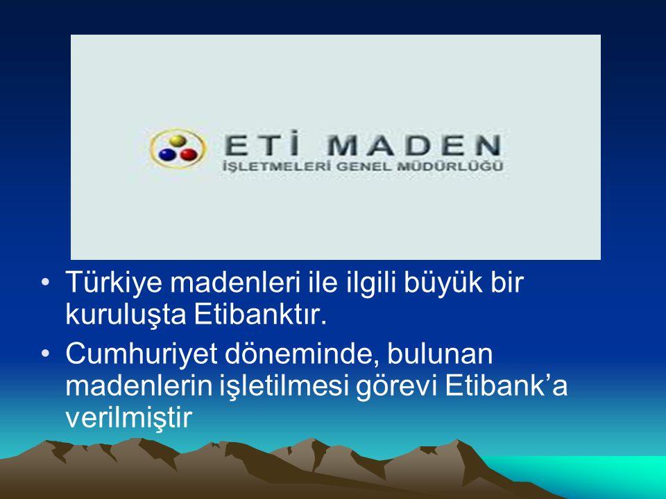 Türkiye madenleri ile ilgili büyük bir kuruluşta Etibanktır. Cumhuriyet döneminde, bulunan madenlerin işletilmesi görevi Etibank'a verilmiştir