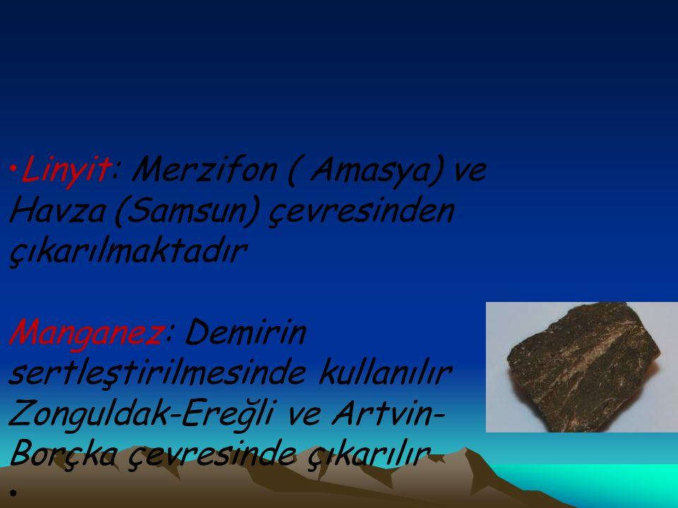 Linyit: Merzifon ( Amasya) ve Havza (Samsun) çevresinden çıkarılmaktadır Manganez: Demirin sertleştirilmesinde kullanılır Zonguldak-Ereğli ve Artvin-