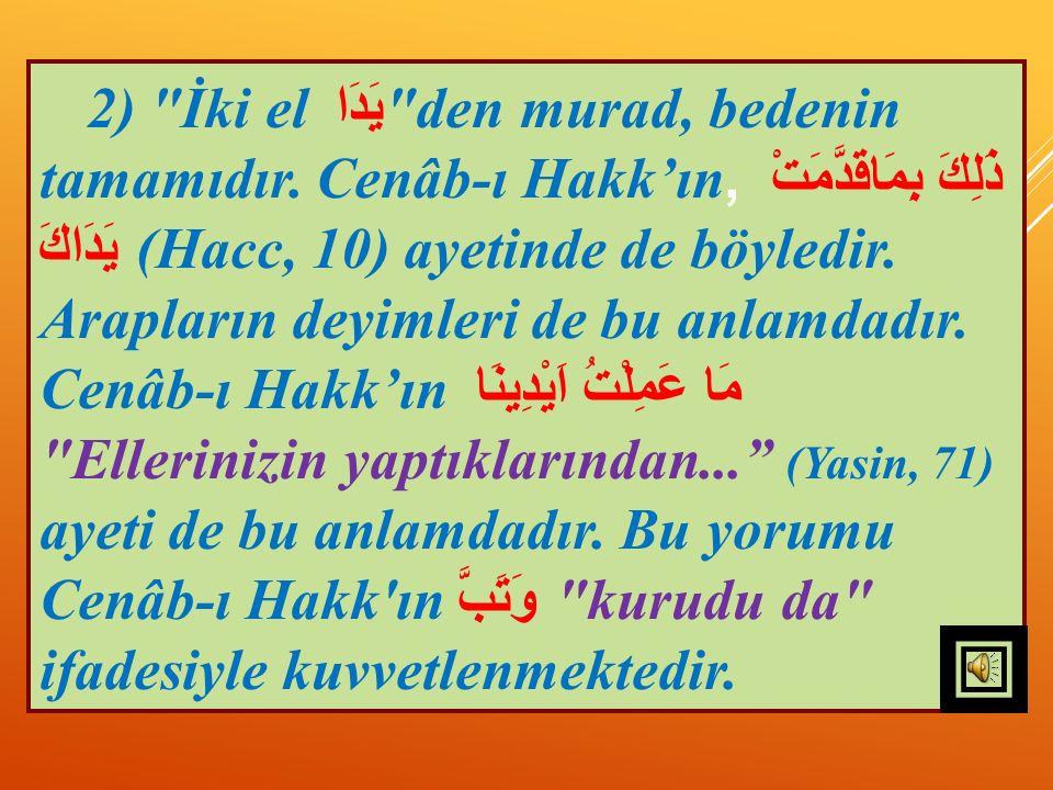 2) İki el يَدَا den murad, bedenin tamamıdır.