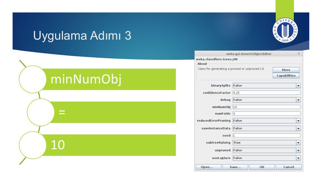 Uygulama Adımı 3 minNumObj = 10