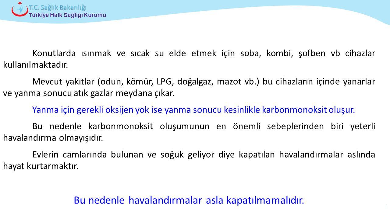 Çocuk ve Ergen Sağlığı Daire Başkanlığı Türkiye Halk Sağlığı Kurumu T.C. Sağlık Bakanlığı Konutlarda ısınmak ve sıcak su elde etmek için soba, kombi,