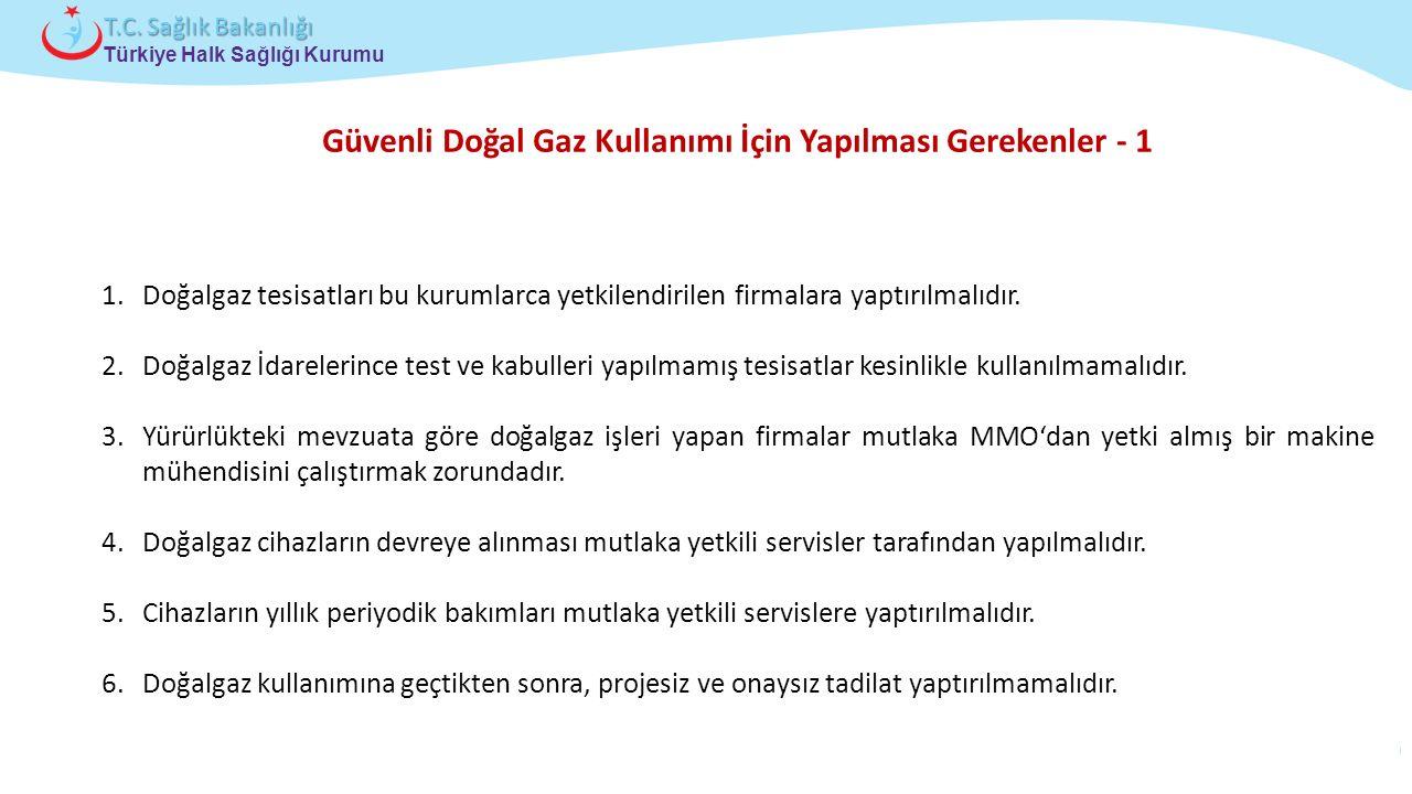 Çocuk ve Ergen Sağlığı Daire Başkanlığı Türkiye Halk Sağlığı Kurumu T.C. Sağlık Bakanlığı Güvenli Doğal Gaz Kullanımı İçin Yapılması Gerekenler - 1 1.