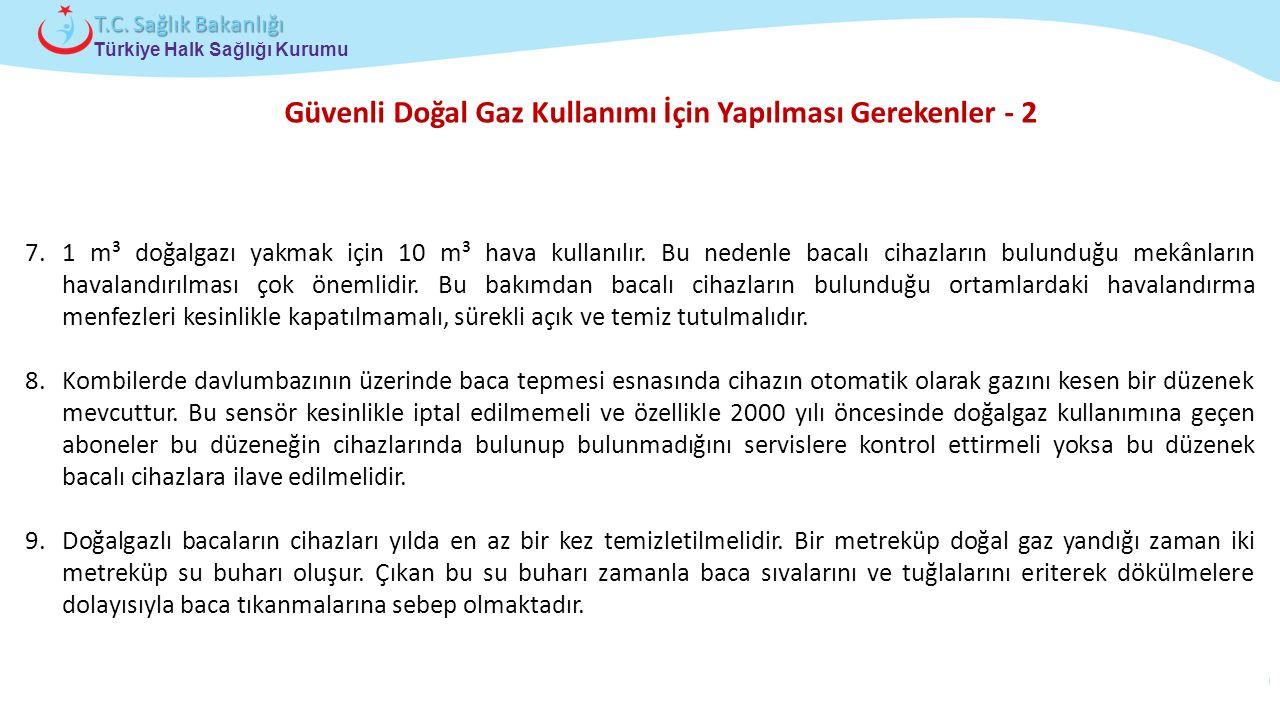Çocuk ve Ergen Sağlığı Daire Başkanlığı Türkiye Halk Sağlığı Kurumu T.C. Sağlık Bakanlığı Güvenli Doğal Gaz Kullanımı İçin Yapılması Gerekenler - 2 7.