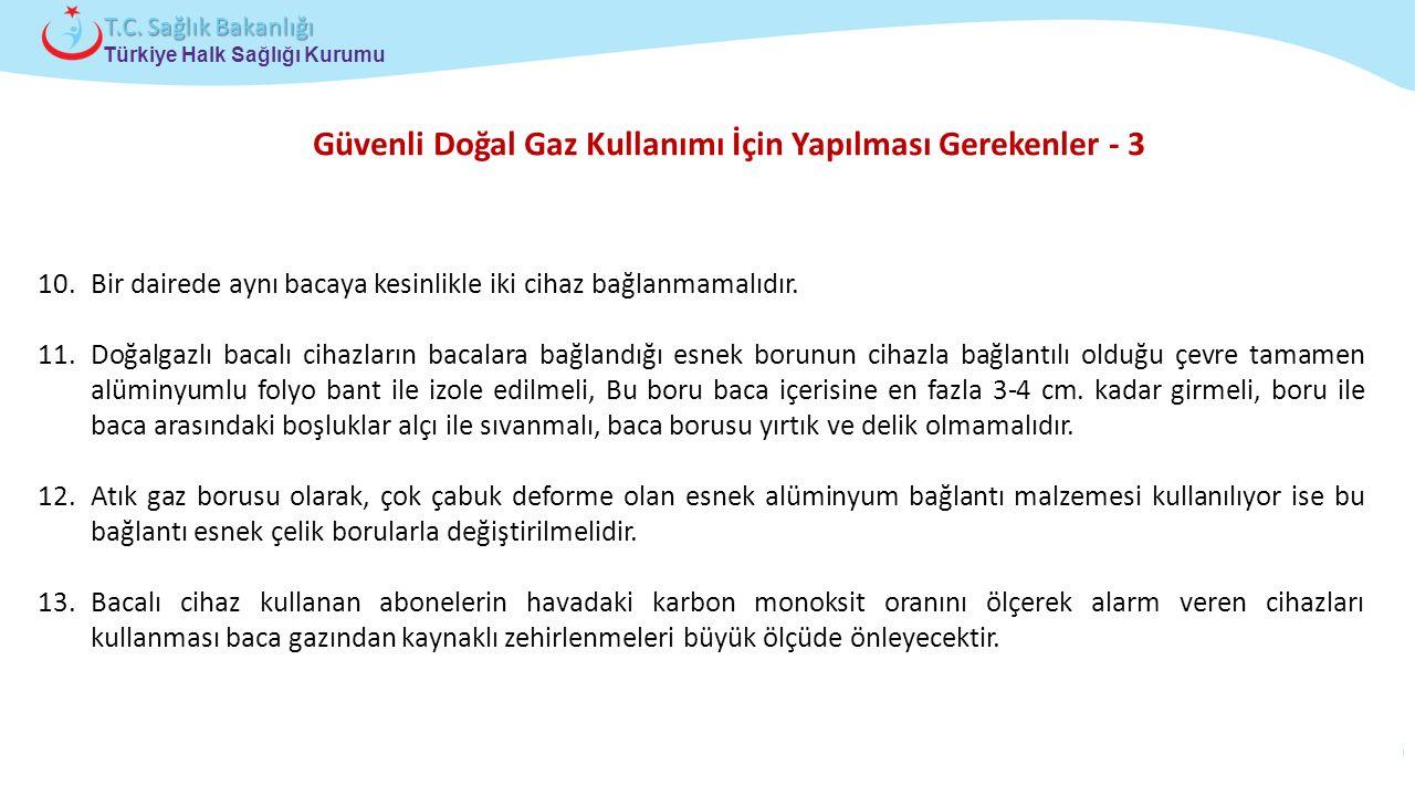 Çocuk ve Ergen Sağlığı Daire Başkanlığı Türkiye Halk Sağlığı Kurumu T.C. Sağlık Bakanlığı Güvenli Doğal Gaz Kullanımı İçin Yapılması Gerekenler - 3 10