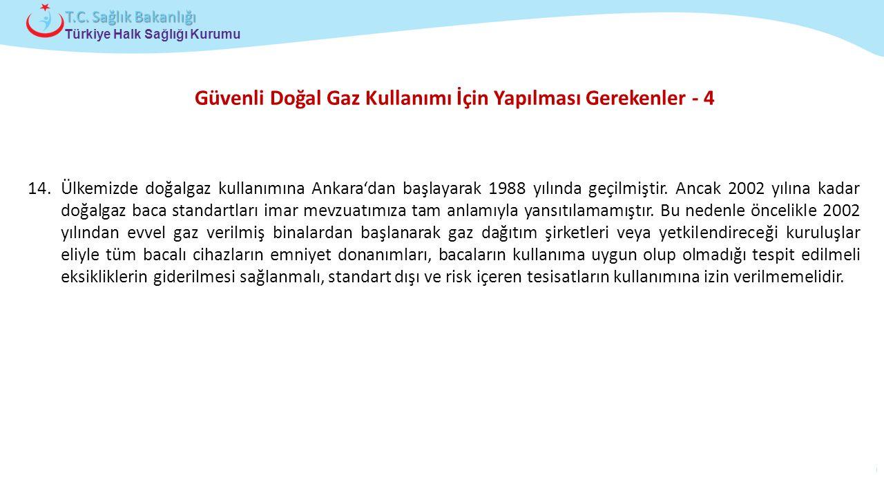 Çocuk ve Ergen Sağlığı Daire Başkanlığı Türkiye Halk Sağlığı Kurumu T.C. Sağlık Bakanlığı Güvenli Doğal Gaz Kullanımı İçin Yapılması Gerekenler - 4 14