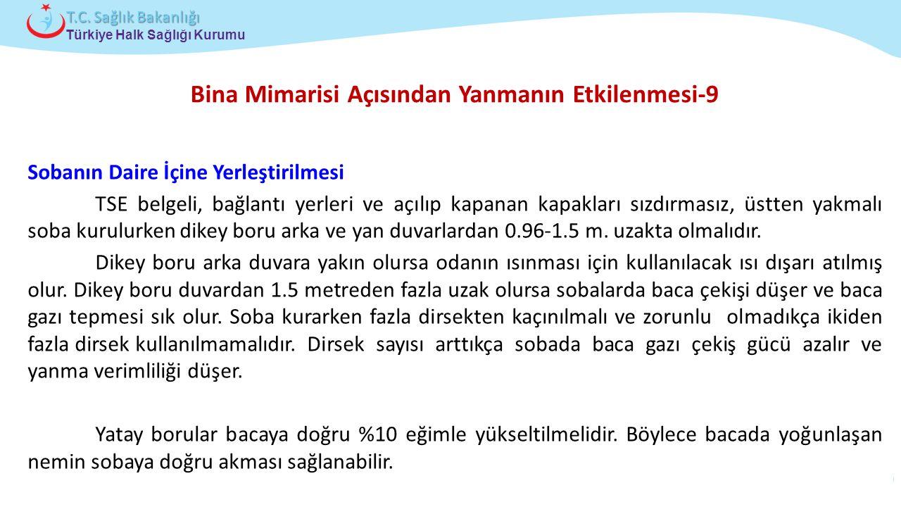 Çocuk ve Ergen Sağlığı Daire Başkanlığı Türkiye Halk Sağlığı Kurumu T.C. Sağlık Bakanlığı Bina Mimarisi Açısından Yanmanın Etkilenmesi-9 Sobanın Daire