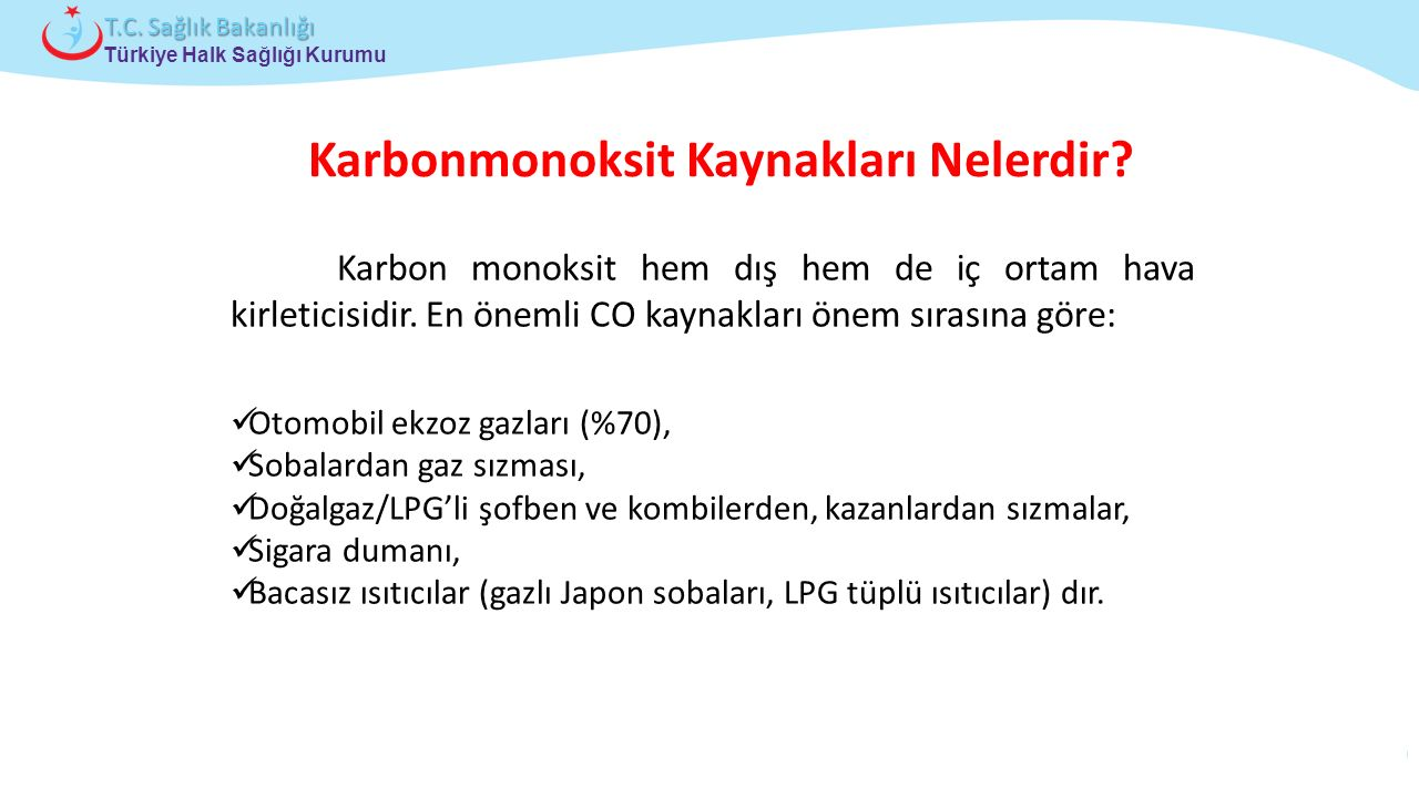 Çocuk ve Ergen Sağlığı Daire Başkanlığı Türkiye Halk Sağlığı Kurumu T.C. Sağlık Bakanlığı Karbonmonoksit Kaynakları Nelerdir? Karbon monoksit hem dış