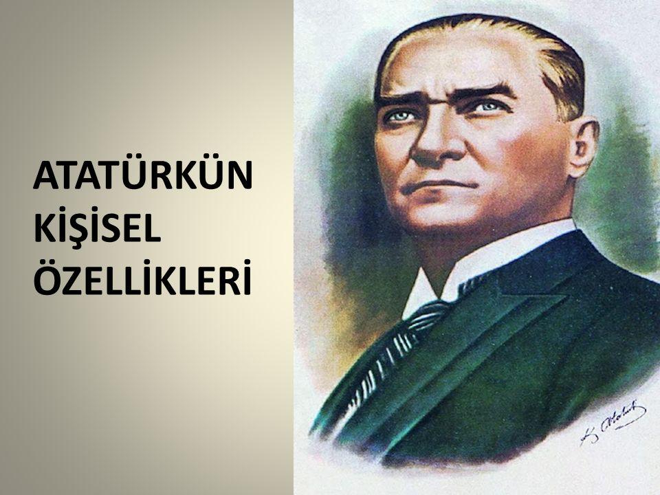 VATAN SEVERLİĞİ Vatan sevgisi Atatürk'ün en önemli özelliğidir.Vatanın savunulması için hiçbir fedakârlıktan kaçınmamıştır.Vatan savunmasını her şeyden önemli ve her şeyden üstün gören Atatürk'ün İstiklâl Savaşının kazanılmasında vatan sevgisi ve Türk milletine olan güveni önemli bir yer tutar.