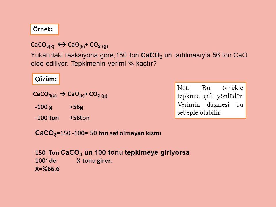 CaCO 3(k) ↔ CaO (k) + CO 2 (g) Yukarıdaki reaksiyona göre,150 ton CaCO 3 ün ısıtılmasıyla 56 ton CaO elde ediliyor. Tepkimenin verimi % kaçtır? Örnek: