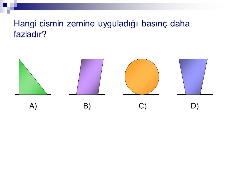 Hangi cismin zemine uyguladığı basınç daha fazladır? A)B)C)D)
