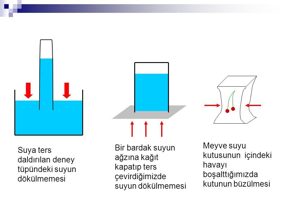 Suya ters daldırılan deney tüpündeki suyun dökülmemesi Bir bardak suyun ağzına kağıt kapatıp ters çevirdiğimizde suyun dökülmemesi Meyve suyu kutusunu