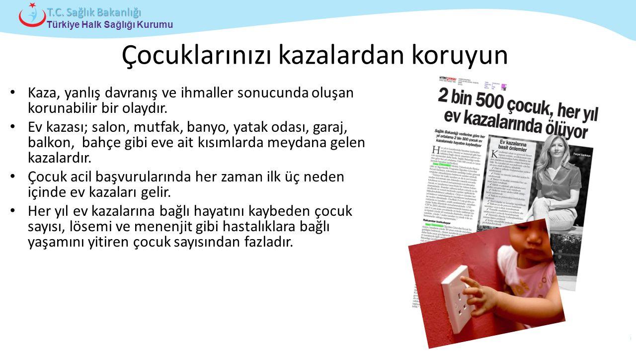 Çocuk ve Ergen Sağlığı Daire Başkanlığı Türkiye Halk Sağlığı Kurumu T.C. Sağlık Bakanlığı Çocuklarınızı kazalardan koruyun Kaza, yanlış davranış ve ih
