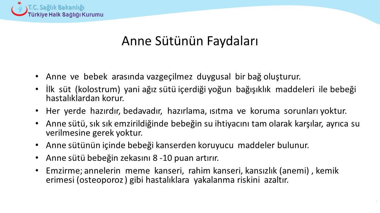 Çocuk ve Ergen Sağlığı Daire Başkanlığı Türkiye Halk Sağlığı Kurumu T.C. Sağlık Bakanlığı Anne Sütünün Faydaları Anne ve bebek arasında vazgeçilmez du
