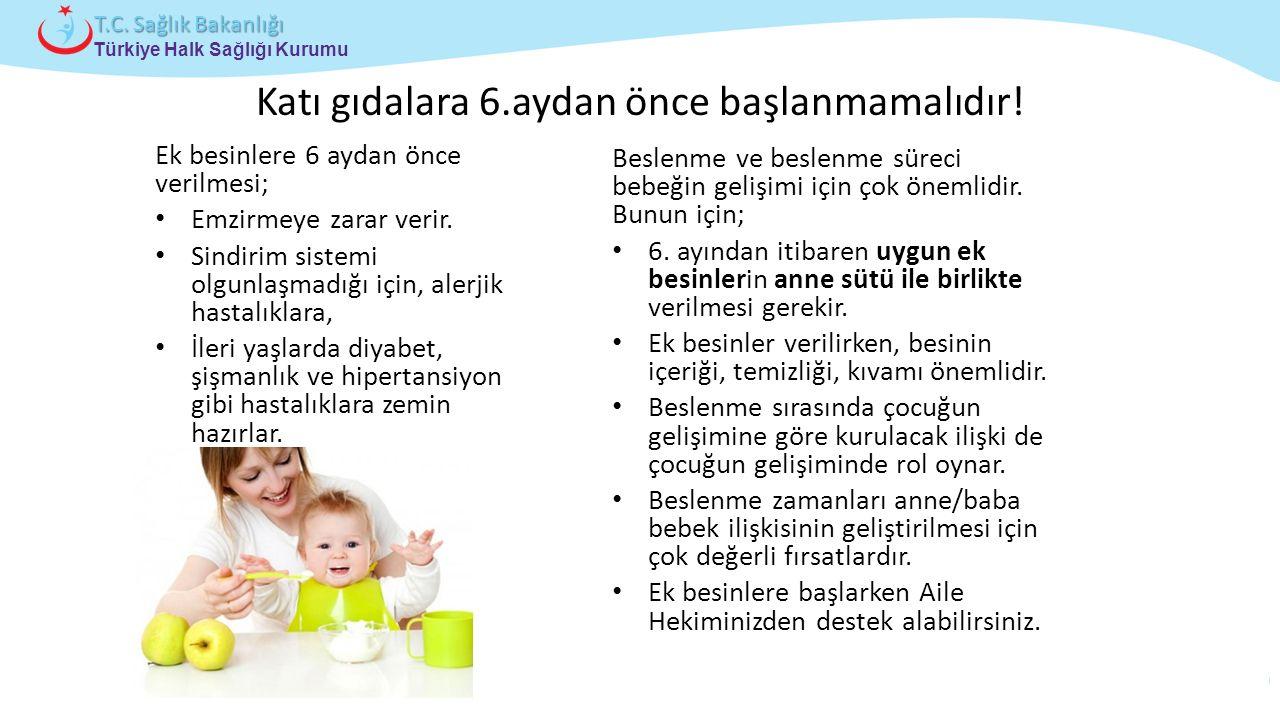 Çocuk ve Ergen Sağlığı Daire Başkanlığı Türkiye Halk Sağlığı Kurumu T.C. Sağlık Bakanlığı Katı gıdalara 6.aydan önce başlanmamalıdır! Ek besinlere 6 a