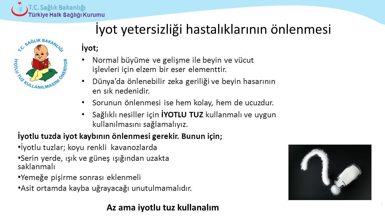 Çocuk ve Ergen Sağlığı Daire Başkanlığı Türkiye Halk Sağlığı Kurumu T.C. Sağlık Bakanlığı İyot yetersizliği hastalıklarının önlenmesi İyot; Normal büy