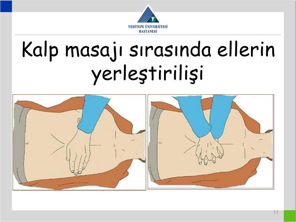 52 Kalp masajı sırasında ellerin yerleştirilişi