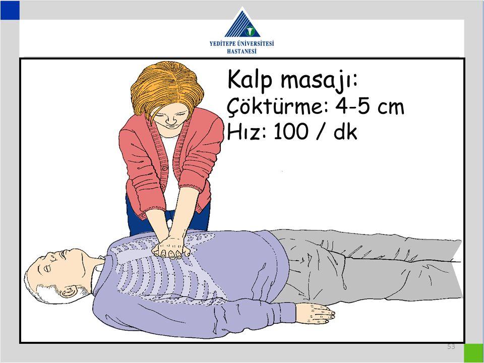 53 Kalp masajı: Çöktürme: 4-5 cm Hız: 100 / dk